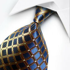 UK1075 Blue Gold Plaids New 100%Silk Classic JACQUARD Woven Men's Tie Necktie