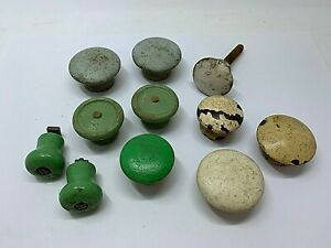 Vintage Lot of 11 painted Wooden Drawer Knobs Round Pull Handle Cabinet Dresser