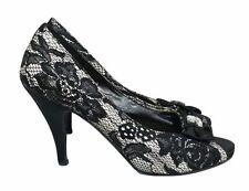 KALEIDOSCOPE Shoes Size 5 Peep Toe Black & White Net Floral Prom Wedding Ball