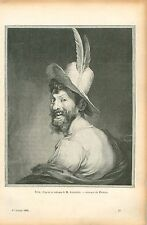 Tête d'Homme par Louis Émile Anquetin Peintre GRAVURE ANTIQUE OLD PRINT 1906