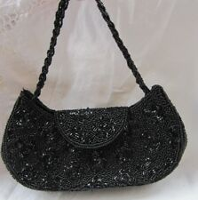 #STUNNINGVINTAGE LA REGALE BLACK BEADED EVENING BAG PURSE clutch tote handbag