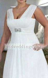 Custom V-neck Plus Chiffon Bridal Gown Wedding Dress Size 14-16-18-20-22-24++