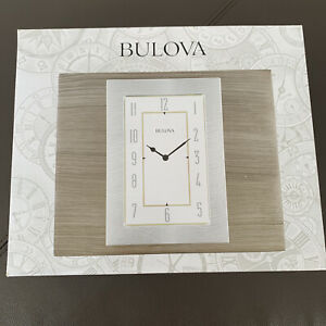 Bulova Woodside Desktop Metal Dial Clock B1237 Wood Case Grey NIB