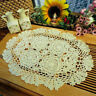 4Pcs/Lot Oval Vintage Lace Doilies Hand Crochet Table Runner Wedding 11x17inch