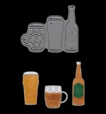 Signature Dies by Joanna Sheen - Beer Bottle and Glasses SD489