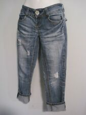 Almost Famous Size Junior 3 Cuffed Cropped Blue Jeans