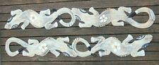 2 x white double Gecko Hanging Wooden Ornaments carvings Hand painted 100cm