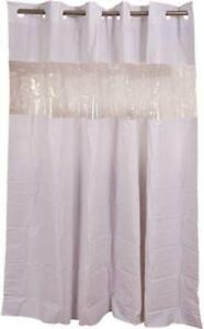"""Hookless Shower Curtain Vinyl White 71"""" x 74"""" See Thru Window  Thick 8 Gauge"""