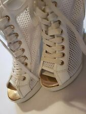 Aldo Womens SNEAKERS LACE-UP PLATFORM WEDGE HEELS Size 6 White Sexy EUC