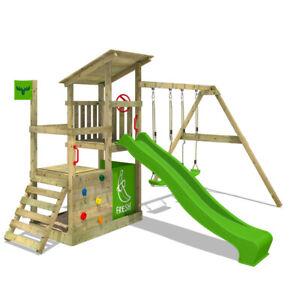 Wooden climbing frame FATMOOSE FruityForest - Swing set with slide and sandpit