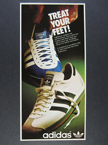 1975 Adidas Country Shoes white green blue shoe photo vintage print Ad