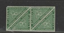 NEWFOUNDLAND #11A strip of four TRIANGLES unused VF