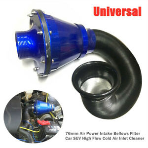 3'' Vehicle Air Power Intake Bellows Filter Car High Flow Cold Air Inlet Cleaner