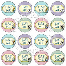 16x EDIBLE Alice in Wonderland Eat Me Cupcake Toppers Wafer Paper 4cm (uncut)