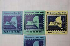 1955 Spa meeting Binghamton Ny Philatelic Souvenir map Label Ad set 3 stamp club