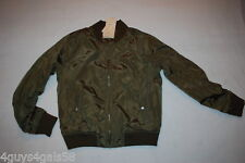 Womens DARK ARMY GREEN BOMBER JACKET Lined 2 SIDE POCKETS Ribbed Waist & Cuffs M