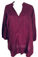 Only Necessities Women's 1X Blouse 3/4 Sleeves V Neck Button Pleated 100% Cotton