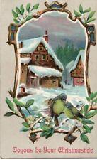 VINTAGE CHRISTMAS GREETING postcard:  SNOW SCENE & BIRDS