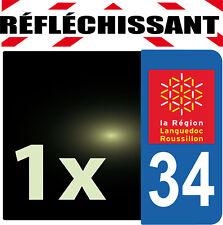 DEPARTEMENT 34 rétro-réfléchissant Plaque Auto 1 sticker autocollant reflectif