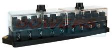 12V 24V voltios 10 forma hoja estándar de servicio pesado soporte Caja de Fusible Kit de coche furgoneta Marine