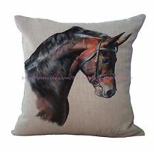 equine horse equestrian cotton linen cushion cover decorative throw pillow case