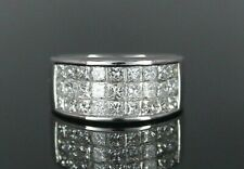 $9,500 Simon G. 18K White Gold 2.50ct Princess Invisible Diamond Ring Band 4.75