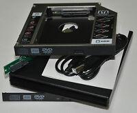 USB DVD RW External Enclosure Case + Sata 2nd HDD SSD Hard Drive Caddy Adapter