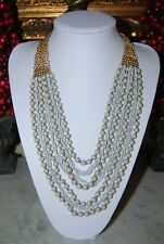 And Grey Beads Statement Bib Necklace Simple Addiction Gold Toned Metal Chains