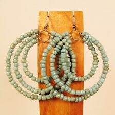 """2 1/2"""" Turquoise Color Triple Hoop Gypsy Style Handmade Seed Bead Hook Earrings"""