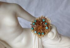 """Brooch Moba 18K Gold, Italian Turquoise Cabochones Signed 7.9 g Mid-Century 1"""""""