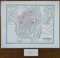 """Vintage 1900 JERUSALEM Map 14""""x11"""" ~ Old Antique Original BIBLE HOLY SEPULCHRE"""