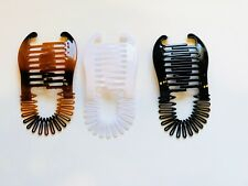 NEW VINTAGE LARGE COMB BANANA CLIP HAIR RISER CLAW LOT (Black-Brown-White).