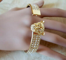 BETSEY JOHNSON GOLDEN LEOPARD - 3 ROW BRILLIANT CRYSTAL HINGED BRACELET NWT $60