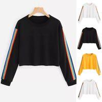 Sweatshirt Blouse Pull à manches longues femmes arc en ciel patchwork O Nouveau