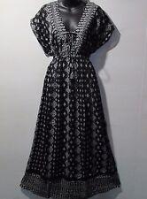 Maxi Dress Fits L XL 1X 2X 3X Plus Tunic Black Lace Tie Chest Sundress NWT 6363