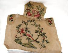 Tapisserie petits points garniture fauteuil Louis XV chinois oiseaux XXème