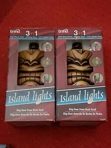 Bond Island Lights King Luau Stone Resin Torch Set of 2 Garden Torch 3.5ft New