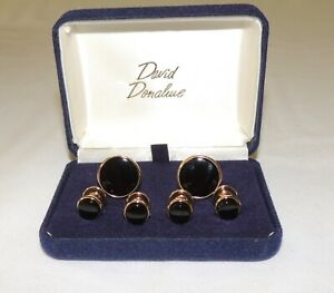 David Donahue Gold plated with Black onyx formal cufflinks & stud set.