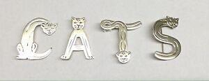 Sterling Silver 925 Cat Alphabet Brooch Pins