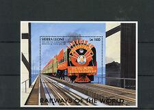 Sierra Leone 1995 MNH Railways of World 1v S/S III Trains China Mao Stamps