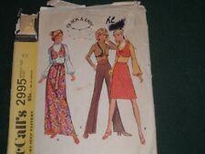 Vtg 1971 McCalls 2995 Hippie Mod Skirt Pants Bolo Vest Sz14 Cut Sew Pattern #bd