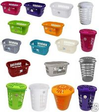 PLASTIC LAUNDRY BIN HIPSTER BASKET WASHING CLOTHES STORAGE RECTANGULAR ROUND
