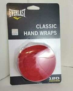 """Everlast® Red CLASSIC HAND WRAPS for Boxing & MMA Training 120"""" Poly-Cotton -NIP"""