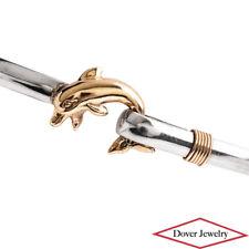 Estate Sterling Silver 14K Gold Dolphin Bangle Bracelet 12.5 Grams NR