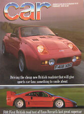 CAR 02/1989 featuring Ferrari F40, BMW M3, Midas Gold, Caterham Super Seven
