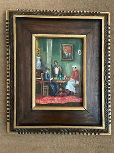 Miguel Galvez (1912-1989)    '73 Oil Figural Painting Framed 13x11 / Board: 7x 5