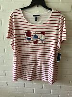 New Karen Scott Woman's Embellished Striped Top  Red  & White  0X 1X 2X. 3X  V86
