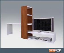 Regal TV-Bank Sideboard Lowboard Tisch Raumteiler Kombi Kernnussbaum / Polarweiß