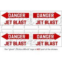 DANGER JET BLAST Aéronef d'Hélicoptère USAF, 50mm Vinyle Autocollants, x4
