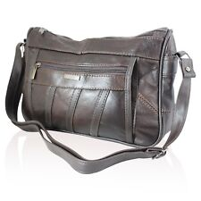 LADIES WOMENS REAL LEATHER HANDBAG ORGANISER SHOULDER BAG SATCHEL COWHIDE 3796